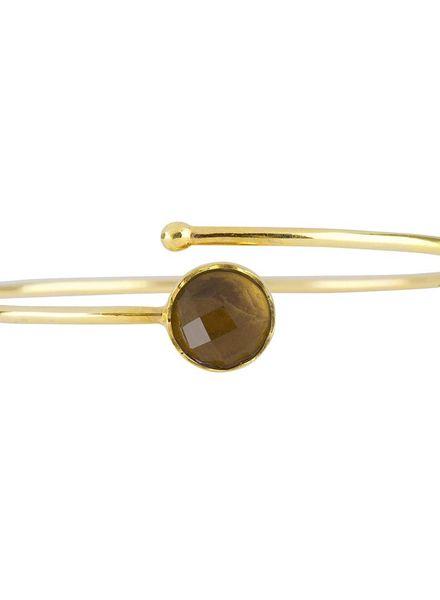 Marissa Eykenloof Gouden armband met Smokey topaas