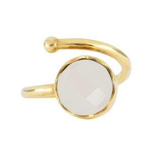 Marissa Eykenloof Gouden ring met Regenboog maansteen