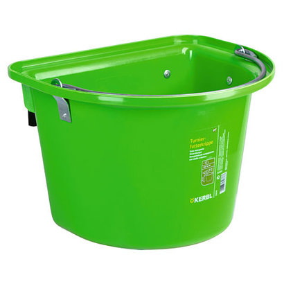 Kerbl Voeremmer met ophanghaken en hengsel, fel-groen 12L