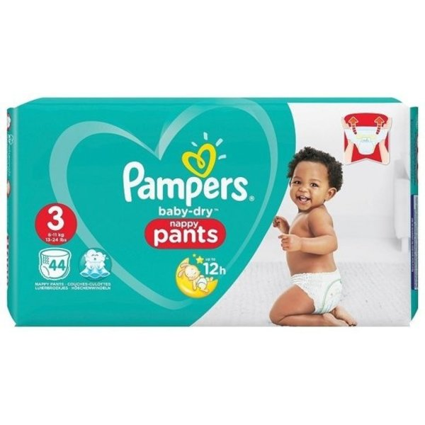 Pampers PAMPERS BABY DRY NAPPY PANTS SIZE 3 44'S (EN;FR;DE;NL)