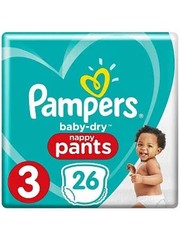 Pampers PAMPERS BABY DRY NAPPY PANTS SIZE 3 26 pcs