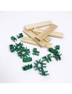 Van Dijk Join Clips voor houten ' Kapla' blokjes   56 clips +  10 blokjes