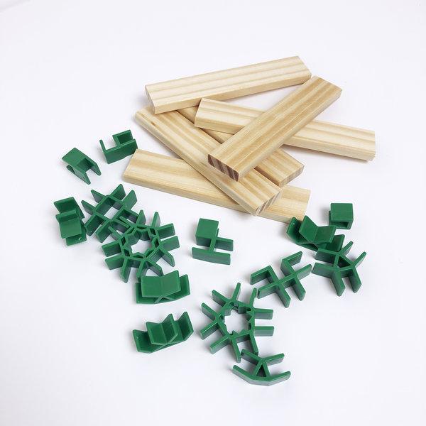 Van Dijk JJoin Clips voor houten ' Kapla' blokjes   56 clips +  10 blokjes