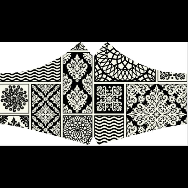 SANS Mondkapje wasbaar - Black & White met elastieken