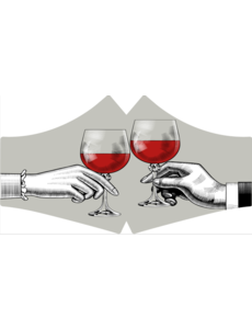 SANS Mondkapje wasbaar - Red Wine  met elastieken