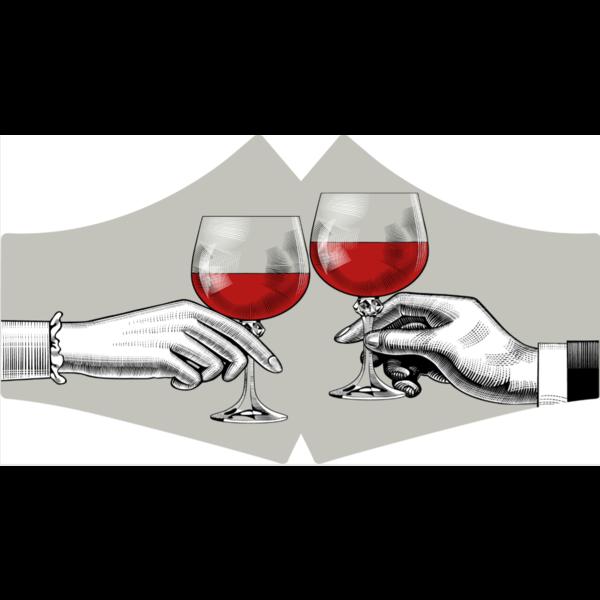SANS Mondkapje wasbaar - Red Wine  met linten