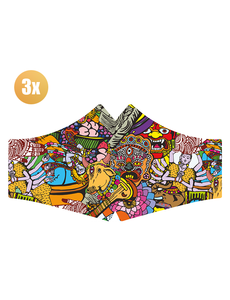 SANS Comfortmasker Hare Krisnja met elastieken - set van 3