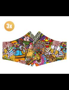 SANS Masque confort Hare Krisnja avec élastiques - lot de 3