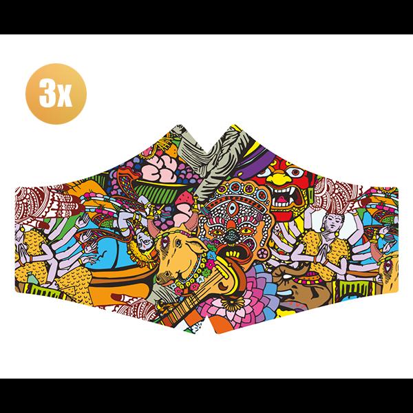 SANS Comfortmasker Hare Krisnja met elastieken - set van 3 stuks