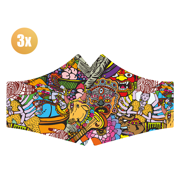SANS Masque confort Hare Krisnja avec élastiques - lot de 3 pièces