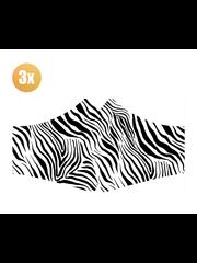 SANS Masque confort Zebra avec élastiques - lot de 3