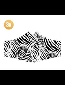 SANS Comfortmasker Zebra met elastieken - set van 3