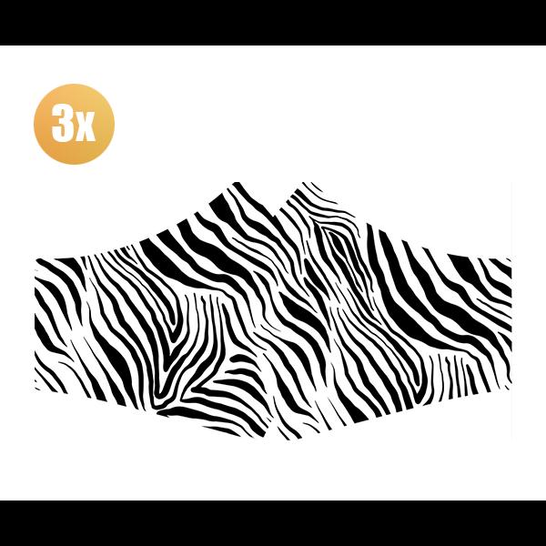 SANS Comfort mask Zebra with elastics - set of 3 pieces