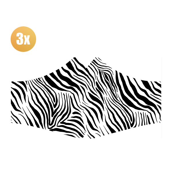 SANS Comfortmasker Zebra met elastieken - set van 3 stuks