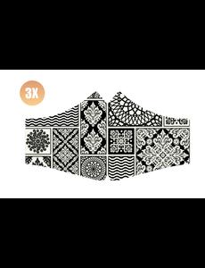SANS Comfort mask Black & White with elastics - set of 3