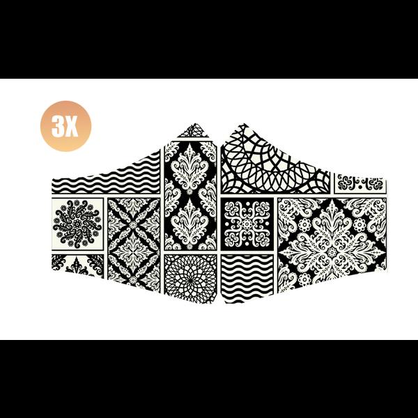SANS Comfortmasker Black & White met elastieken - set van 3 stuks