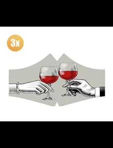SANS Comfortmasker Red Red Wine  met elastieken - set van 3