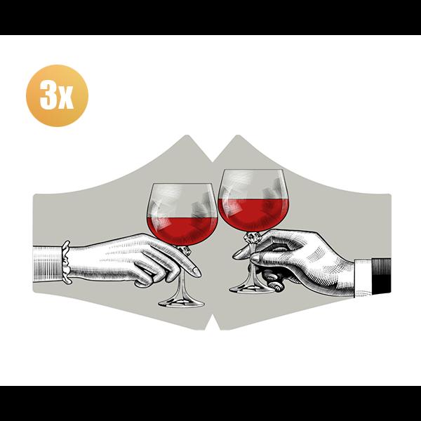 SANS Comfortmasker Red Red Wine  met elastieken - set van 3 stuks