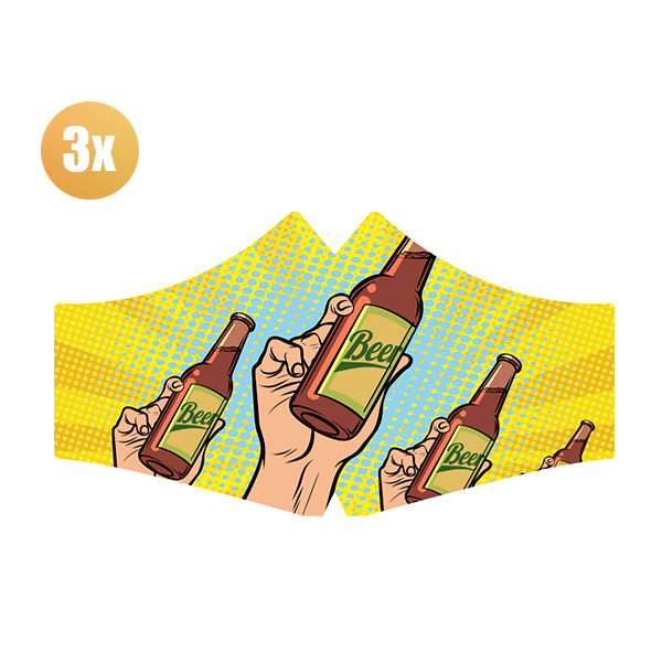 SANS Comfort mask Beer with elastics - set of 3