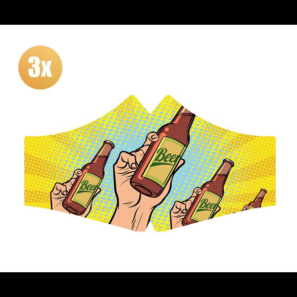 SANS Comfortmasker Bier met elastieken - set van 3