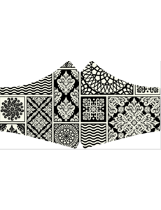 SANS Mondkapje wasbaar - Black & White met linten