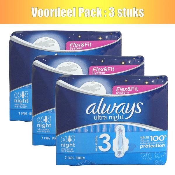 Always Always pads 7x ultra night with wings - set van 3 stuks