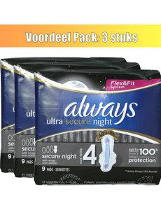 Always Tampons Always 9x Ultra Secure Night avec ailes - lot de 3