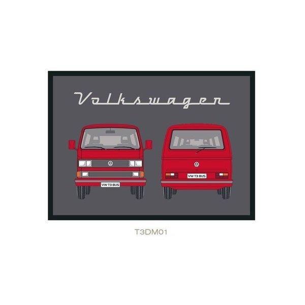 Brisa Brisa Deurmat Volkswagen T3 Front Back - Rood - 50 x 75 cm