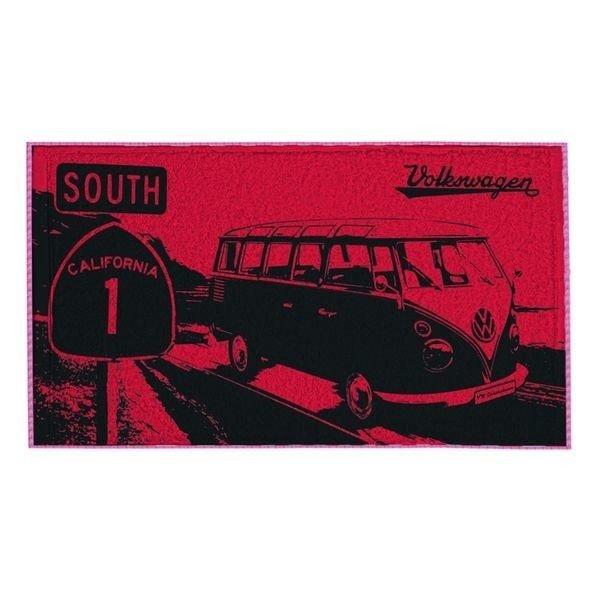 Brisa Serviette de plage Brisa Volkswagen T1 Highway - Rouge - 90 x 160 cm