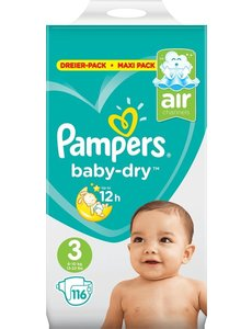 Pampers Pampers Diapers - Activt 3rd Baby Dry - 116 pieces - Mon