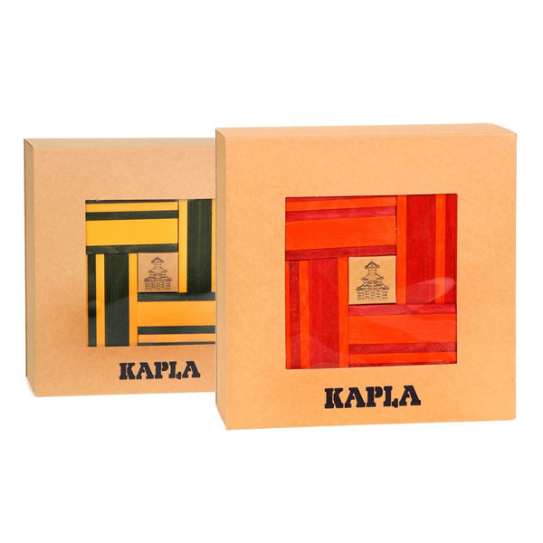 Kapla Kapla 40 Plankjes rood/oranje + 40 Plankjes geel/groen