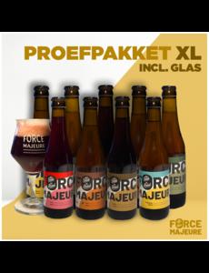 Force Majeure Exemple de paquet XL Glass.: 2 verres, 4x blond, 4x triple, 4x triple houblon, 3x cerise, 3x marron