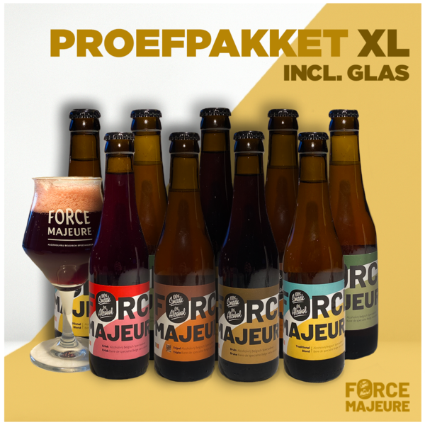 Force Majeure Proefpakket XL Glas.: 2 glazen,4x blond, 4x tripel, 4x tripel hop, 3x kriek, 3x bruin