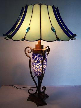 RoMaLux 7584 Tiffany Tafellamp blauw