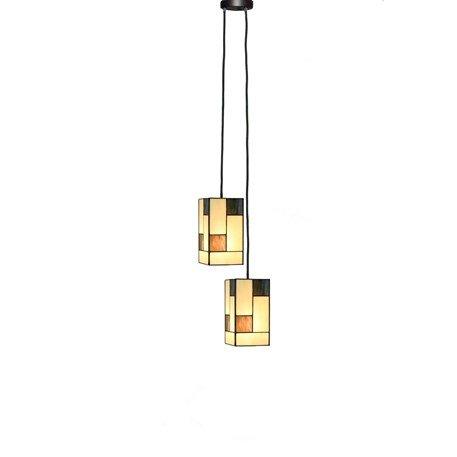2.81318130 Tiffany hanglamp 2 kapjes Mondriaan