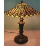RoMaLux RML 7219 Tiffany Tafellamp met geplooide kap