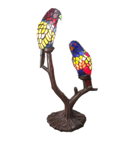 L 6017 Tiffany Tafellamp papegaaien
