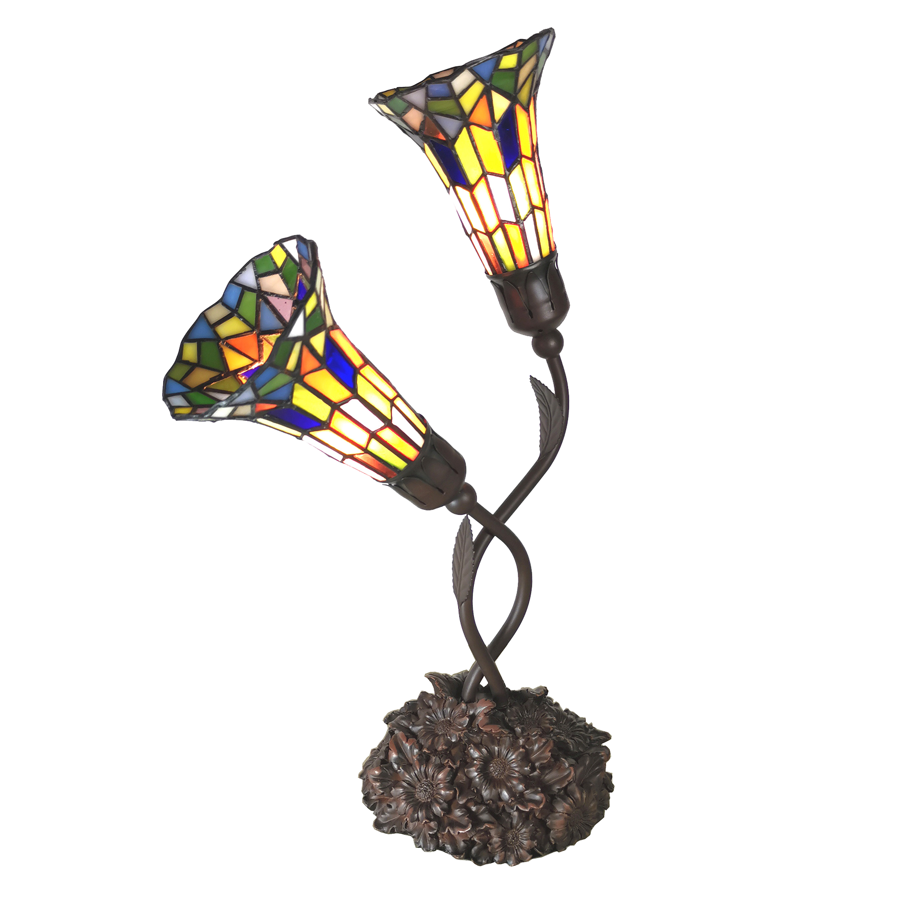 L 6028 Tiffany Tafellamp Lily + 2 kapjes