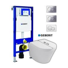 Sanitairstunthal Complete verkorte set Designo met Geberit UP320 reservoir met drukplaat en softclose / quick release toiletzitting