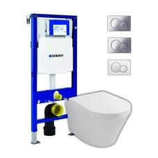 Sanitairstunthal hangend toilet met Geberit UP320 reservoir en Sigma bedieningsplaat