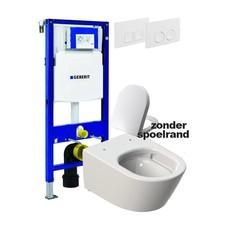 Sanitairstunthal Complete toiletset Designo spoelrand loos met Geberit reservoir met drukplaat en softclose / quick release toiletzitting