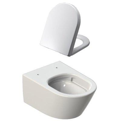 Sanitairstunthal design wandcloset zonder spoelrand inclusief soft close en afneembare toiletzitting wit