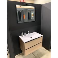 Sanitairstunthal Badmeubel 80cm wastafel mineraalmarmer inclusief spiegel met opbouwverlichting.