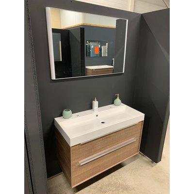 Sanitairstunthal Badmeubel 100 cm breed met mineraalmarmeren wastafel inclusief spiegel met verlichting. VERKOCHT!!!