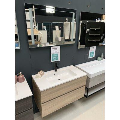 Thebalux Badmeubel 90 x 45cm inclusief spiegel met verlichting en wastafelkraan.
