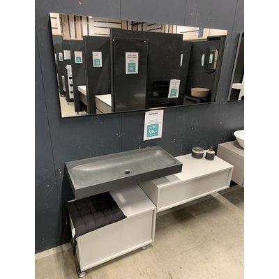 Badmeubelset natuursteen look inclusief spiegel en verrijdbaar kastje.