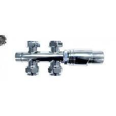 Sanitairstunthal Radiator aansluitset chroom RECHT h.o.h 50 mm incl thermostaatknop en koppelingen