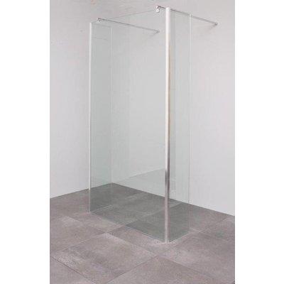 Sanitairstunthal Vrijstaande inloopdouche 120 x 200 cm + 2 vaste hoek segmenten 30 cm diep 8 mm helder veiligheidsglas