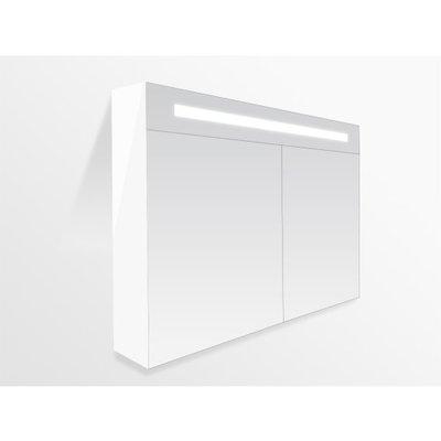 Sanitairstunthal spiegelkast 80 x 70 cm met indirecte LED verlichting inclusief stopcontact en schakelaar in 5 kleuren
