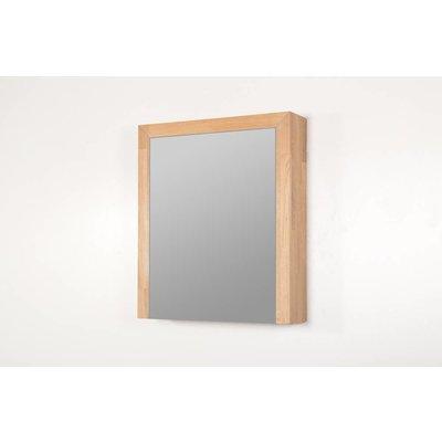 Sanitairstunthal spiegelkast natural wood 60 cm breed met 1 deur inclusief stopcontact en schakelaar